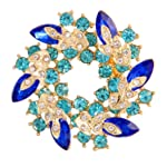 Valdler Women 's Brooch Pin With Fashion Jewelry Fancy Vintage Rhinestone Bling Crystal Bauhinia Flower