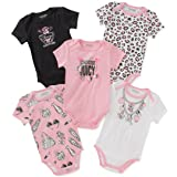 Juicy Couture Baby Girls 5 Packs Bodysuit, Pink/White/Black, 3-6 Months (Color: Pink/White/Black, Tamaño: 3 - 6 Months)