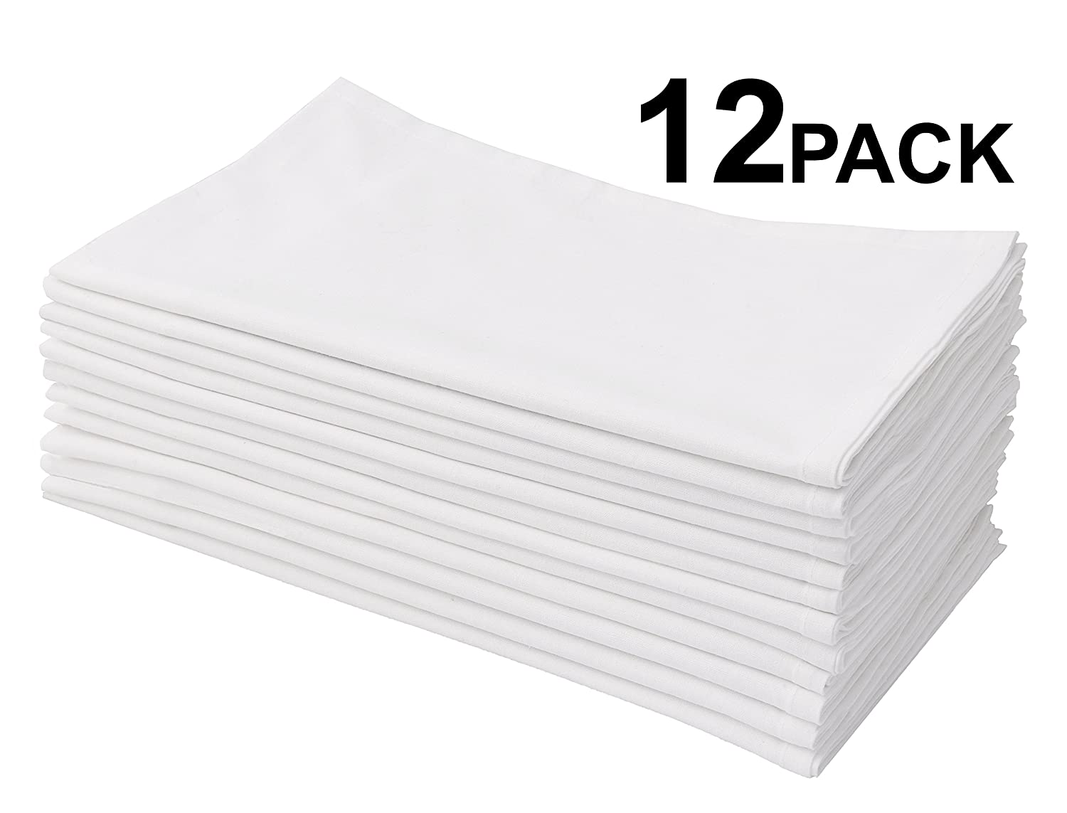 Cotton Craft 12 Pack Flour Sack Kitchen Towel Napkins - 100% Pure Ringspun Cotton - White - 28x28 Heavy Weight 900 Gram / 32 Ounce High Quality Woven Low Lint Construction - Multi Purpose & Versatile