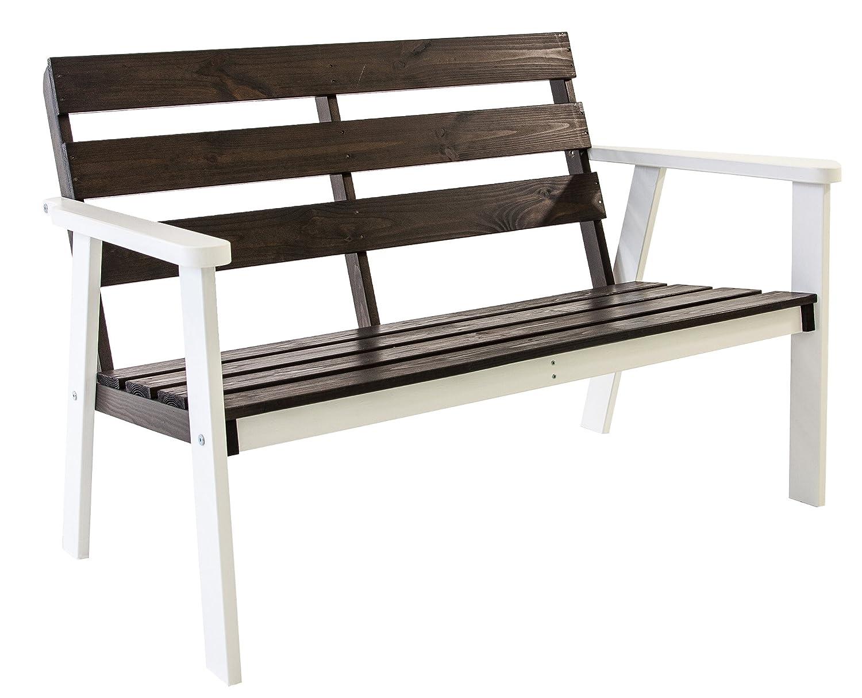 GARDENho.me Nordische 2-Sitzer Massivholz Gartenbank HANKO 5 Farbvarianten Holzbank Weiß/Taupegrau günstig bestellen