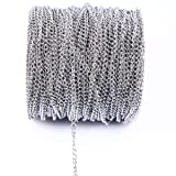 10m 33FT Stainless Steel Cable Chain Link in Bulk for Necklace Jewelry Accessories DIY Making 3.5x5mm (Tamaño: 3.5mm)