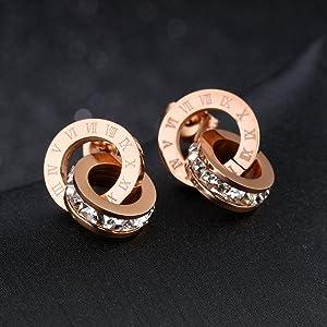 18k Rose Gold Stud Earring Crystal from Swarovski Stainless
