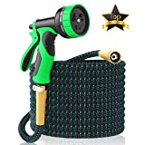 [New 2018] Expandable Garden Hose 50Ft Extra Strong - Brass Connectors with Protectors 100% No-Rust & Leak, 9-Way Spray Nozzle - Best Water Hose for Pocket Use - 100% Flexible Expanding 50ft