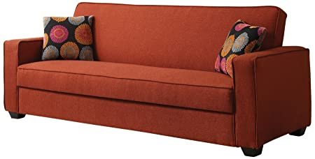 ACME 57072 Shani Adjustable Sofa with 2 Pillows, Red Linen