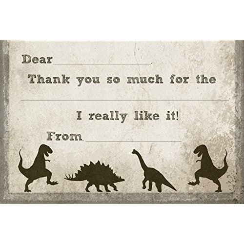 T-Rex Dinosaur Fill In Thank You Cards for Kids Birthday (10 Count with Envelopes)