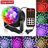 Alviller Party Lights, Led Disco Ball Lights DJ Light Mirror Ball Sound Activated Strobe Light 9 Modes Stage Par Karaoke Lights Lamp with Remote for Kids Birthday Christmas Dance Party Club Wedding (Color: Red, Green, Blue, White, Purple, Tamaño: Updated)