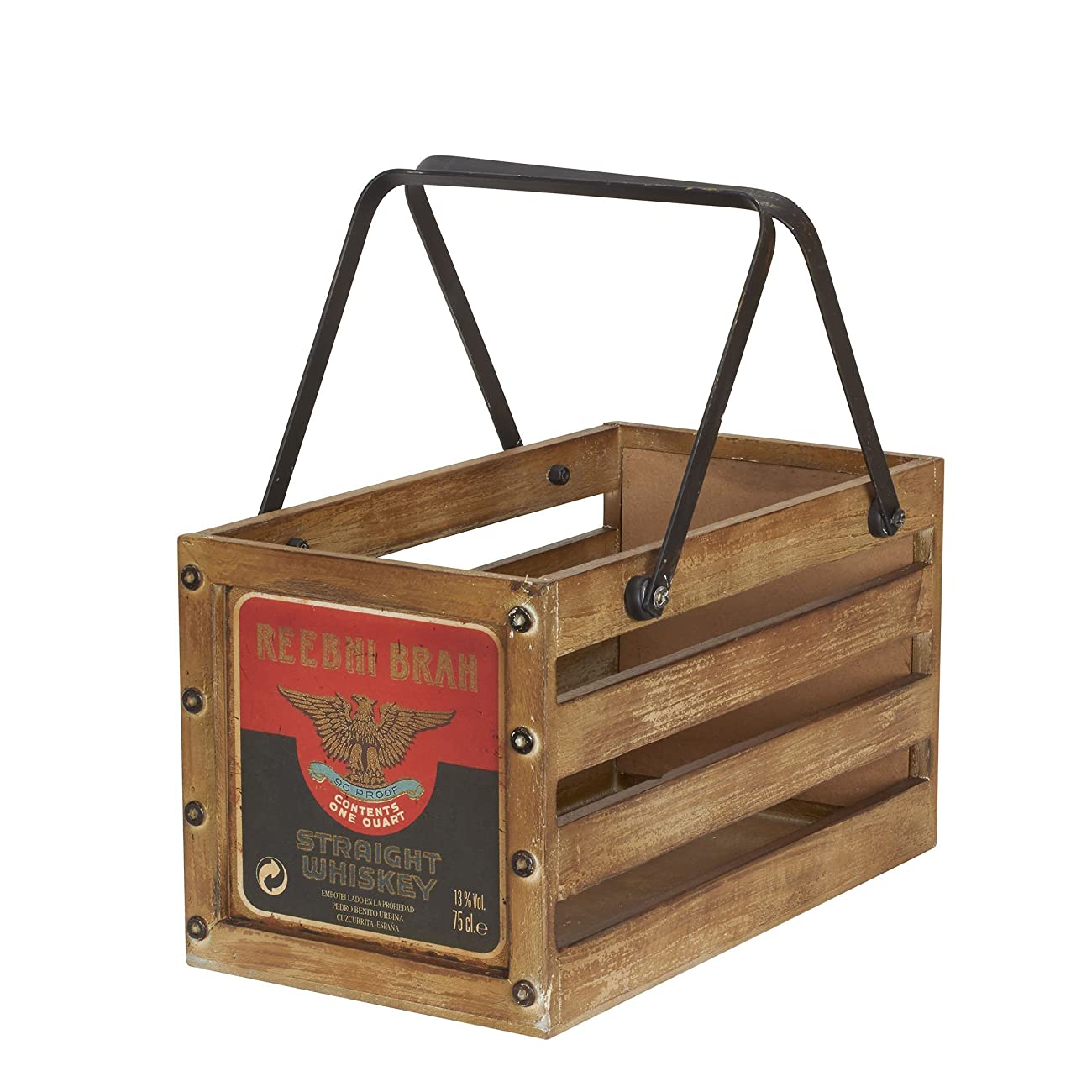 Household Essentials Whiskey Design Decorative Wood Crate for Storage, Small, Brown 0