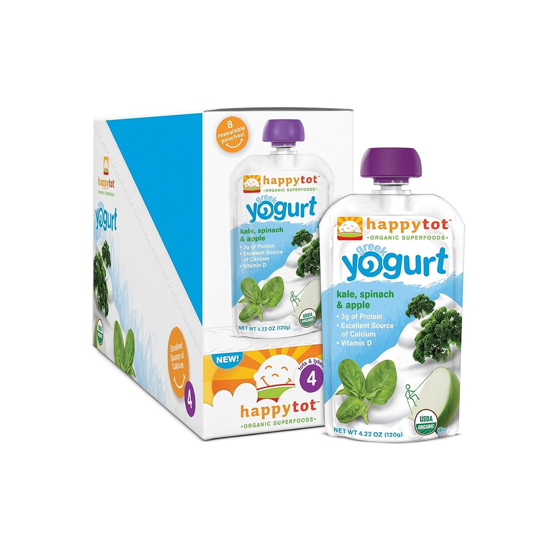 Happy Tot Organic Toddler Food Greek Yogurt, Kale Spinach & Apple, 4.22 oz (Pack of 16)