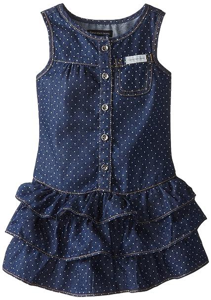 Calvin Klein Little Girls' Blue Denim Dress with One Pocket On