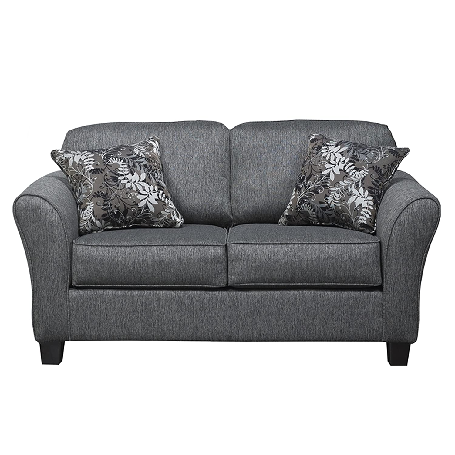 Elmira Pewter Gray Fabric Upholstery Wood Frame Loveseat with Pillows