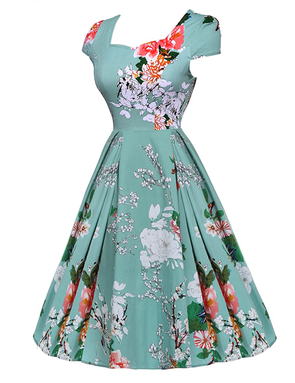 ACEVOG Women's 1950s Cap Sleeve Swing Vintage Floral Party Dresses Multi Colored 2