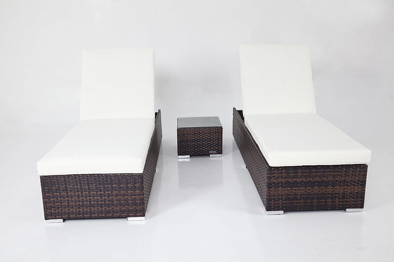 Outflexx Möbel 2-er Set Liegen mit Beistelltisch w37, braun