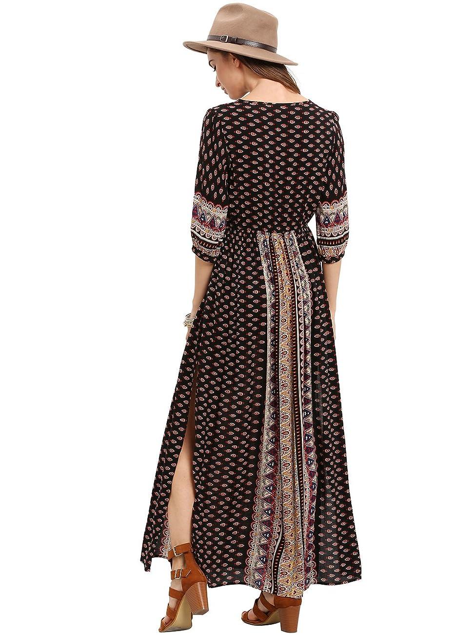 ROMWE Women's Summer Casual Half Sleeve Vintage Print Split Maxi Dress 4