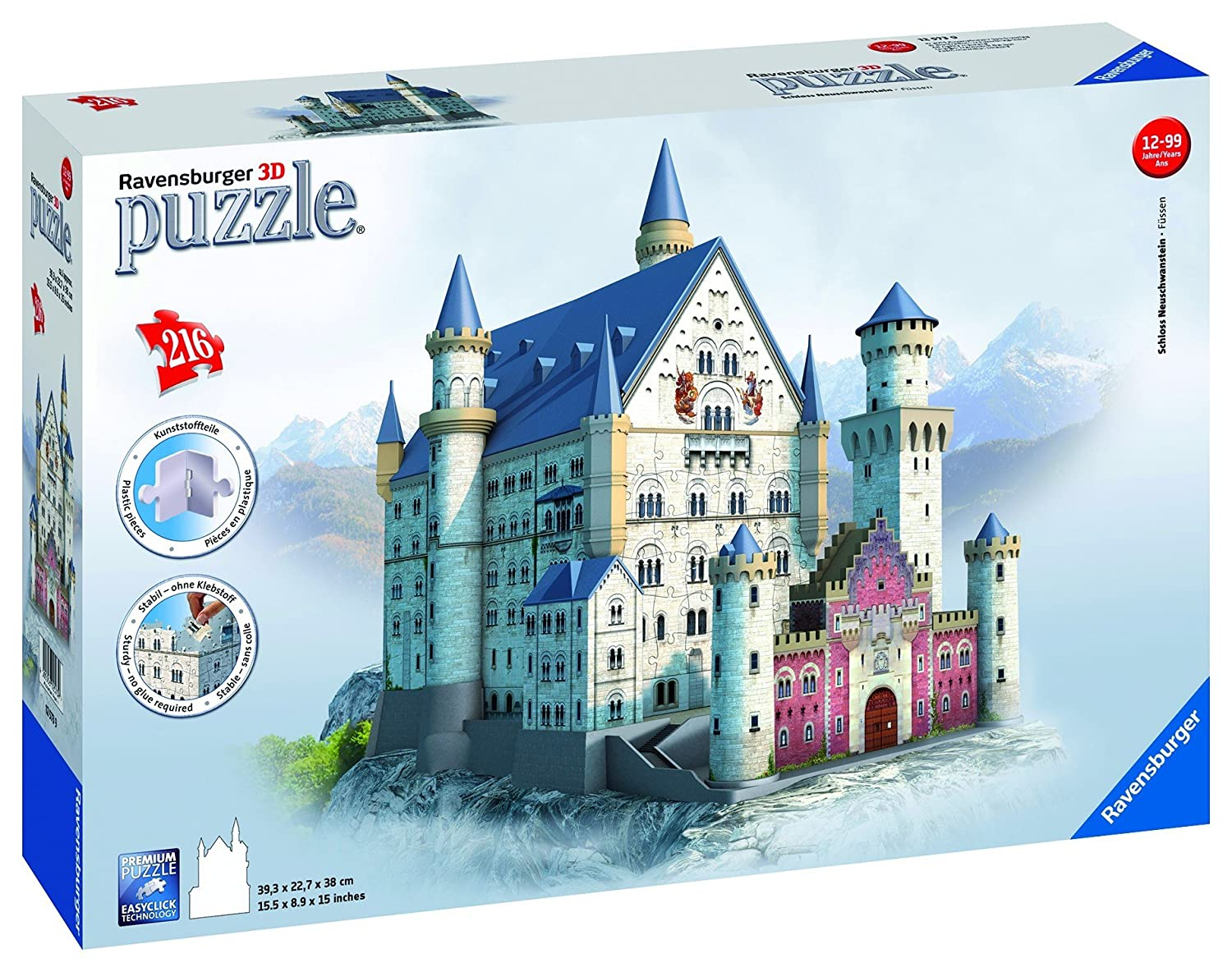 Ravensburger Neuschwanstein 3D Puzzle (216-Piece) metal diy nano 3d puzzle model tiger tank kids diy craft 3d metal model puzzles 3d solid jigsaw puzzle