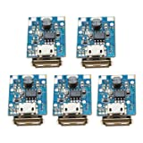 Onyehn 5Pcs 5V Boost Step Up Power Supply Module Lithium Battery Charge Protection Board 134N3P DIY Charger LED Display USB and Micro Port 5 Pack