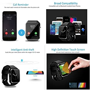 2018 Newest Bluetooth Smart Watch Touchscreen with Camera,Unlocked Watch Phone with Sim Card Slot,Smart Wrist Watch,Smartwatch Phone for Android Samsung S9 S8 IOS Iphone 8 7S Men Women Kids (BLACK) (Color: BLACK, Tamaño: universal)
