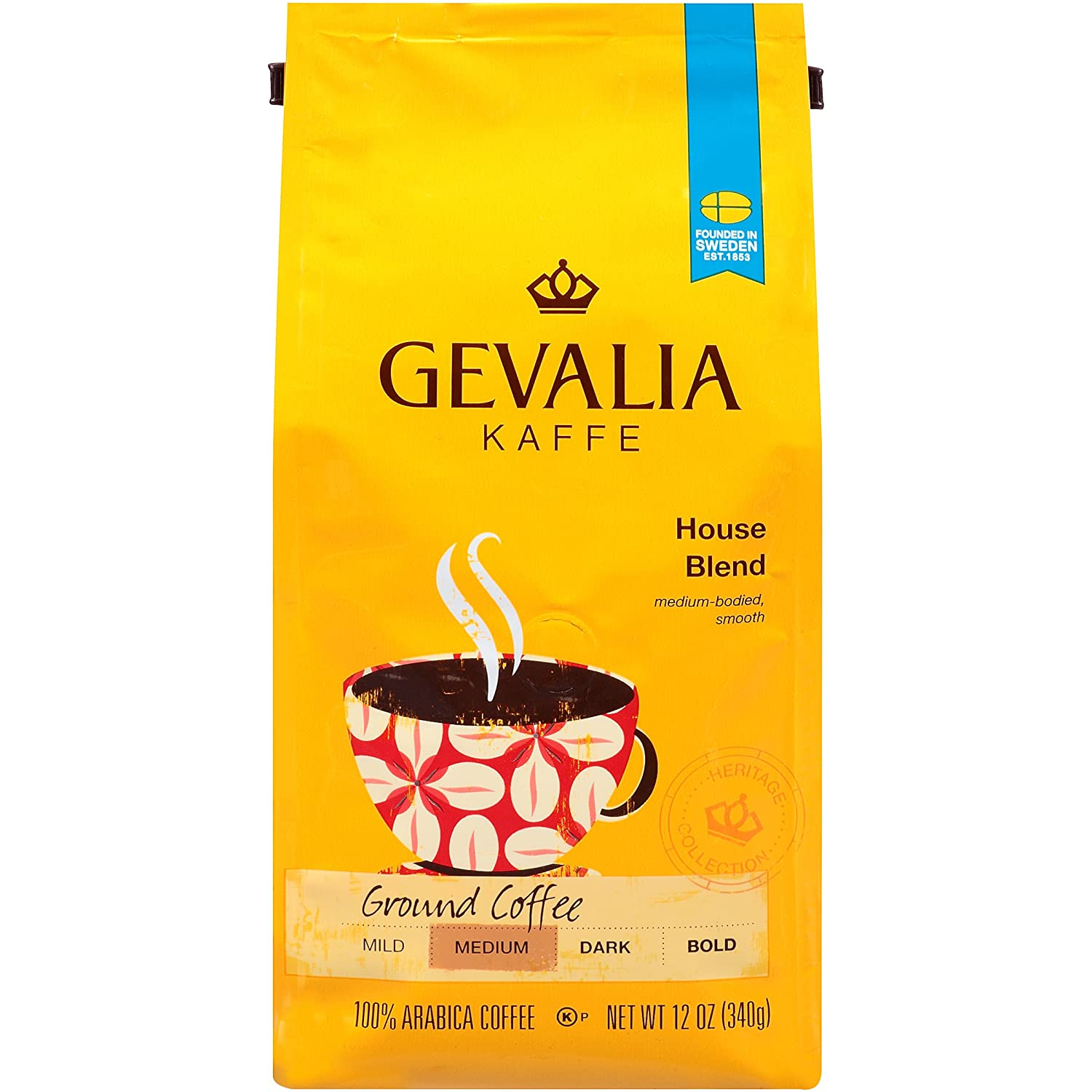 Gevalia House Blend Coffee, Medium Roast, Ground, 12 Ounce