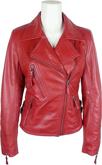 UNICORN Damen Mode Biker-Stil Echtleder Jacke - Gewachste Rot #GB