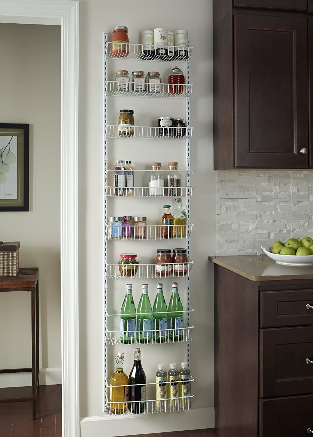 Over The Door Storage Rack Basket Shelf Kitchen Organizer Wall Holder Spice  Herb Ebay