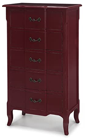 Fivy 5 Drawer Maroon French Dresser