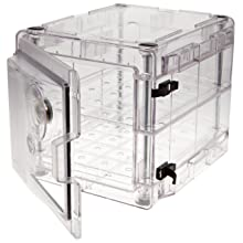 "Bel-Art Scienceware 420721000 Clear Secador 2.0 Desiccator Cabinet with 2 Shelves, 13.4"" Width x 12.4"" Height x 16.3"" Depth"