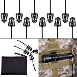 Pack of 10 Tactical Gear Clip Molle Web Dominators for Outdoor Hydration Tube Backpack Straps Management with Zippered Pouch by BOOSTEADY (Color: Black)