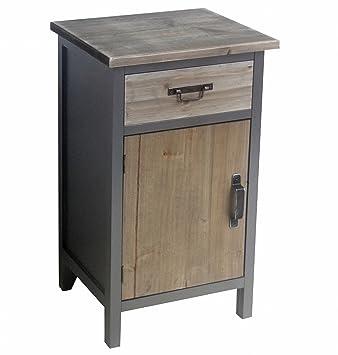 Cómoda 1Cajón 1Puerta Colonial MDF Madera 67x 39x 32cm gris marrón muebles pequeños