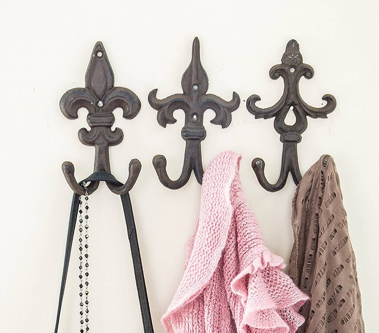 SET OF 3 - Cast Iron Fleur De Lis Double Wall Hooks / Hangers - Decorative Wall Mounted Coat Hook - Rustic Cast Iron - With Screws And Anchors by Comfify CA-1504-30-BR 0