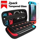 Nintendo Switch Case with 2 Pack Screen Protector, iVoler Protective Portable Hard Shell Pouch Carrying Travel Game Bag for Nintendo Switch Console Accessories Holds 12 Game Cartridge (Color: Black)