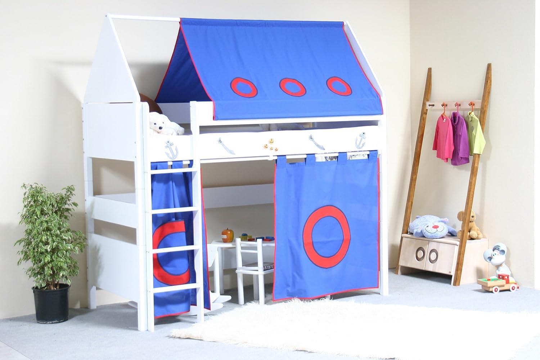 TAUBE Kinderbett Hochbett Pirat 154 cm (Ausführung: 90x190cm, weiß-lackiert, Ausstattung: mit Treppe)