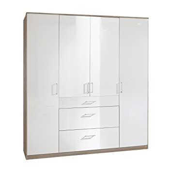 Wimex 247626 Drehturenschrank, Holz, weiß/eiche sägerau, 58 x 180 x 199 cm