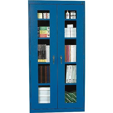 "Sandusky Lee CA4V361872-06 Elite Series Clear View Storage Cabinet, 18"" Length, 72"" Height, 36"" Width, Blue"