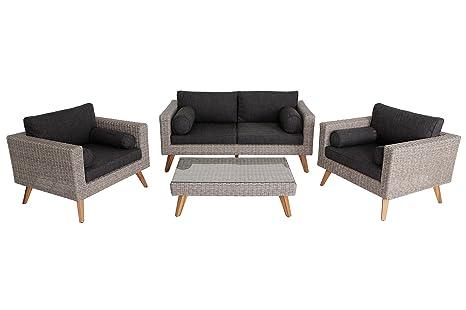 VILLANA exklusive Loungegruppe Gartenlounge aus hochwertigem Polyrattan und Akazie in braun meliert fur 4 Personen, inkl. Kaffeetisch, Couchtisch und Polster, 102 x 62 x 30,5, 2-Sitzer, Sessel, Couch