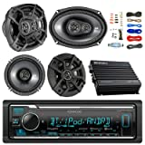 Kenwood KMMBT322U Bluetooth AM/FM Car Stereo Receiver Bundle Combo With 2x Kicker 600-Watt 6.5