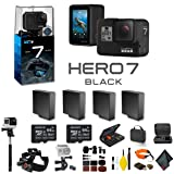 GoPro HERO7 Black Action Camera 3 Extra Battery, External Charger, 2 64GB Memory Card, Case, Chest Mount, Handle Bar Mount, Selfie Stick, Floating Strap More.- 4 Battery Bundle (Color: Black, Tamaño: 4 Battery Adventure Bundle)