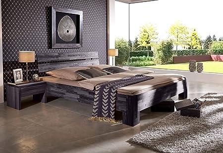 SAM® Massives Holzbett Pesto Bett aus Kernbuche geölt in wenge 160 x 200 cm, massives Bett mit geteiltem Kopfteil, naturliches Design
