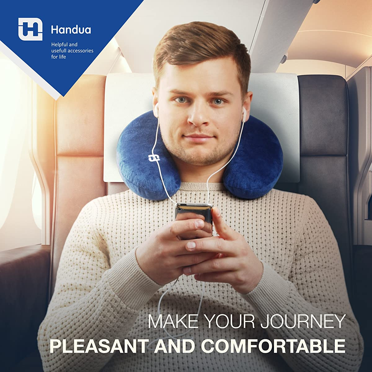 Travel Pillow made of Memory Foam with 3 Pillow Cases - Your Best Neck Support on a Train, Airplane, Car, Bus or Camping - Comfortable U Shaped Cushion. Plane travel pillow. Neck support pillow