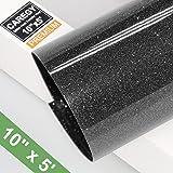 Glitter 10Inx5ft Black Heat Transfer Vinyl Roll(HTV) for T-Shirt Clothing Garment Bags (Color: Glitter Black)