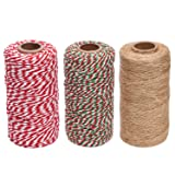 Sunmns Christmas Cotton Twine and Natural Jute String Rope, 3 Rolls (Color: Multicolored 1)