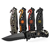 3-in-1 Carbon Fiber Tactical Knife for Emergency First Responders with Glass Breaker, Seatbelt Cutter and Steel Serrated Blade (Color: Carbon Fiber)
