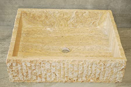 Scabos Chiseled Stone Rectangular Vessel Sink. Natural Stone Bathroom Vessel Sink. Stone Vessel Sink