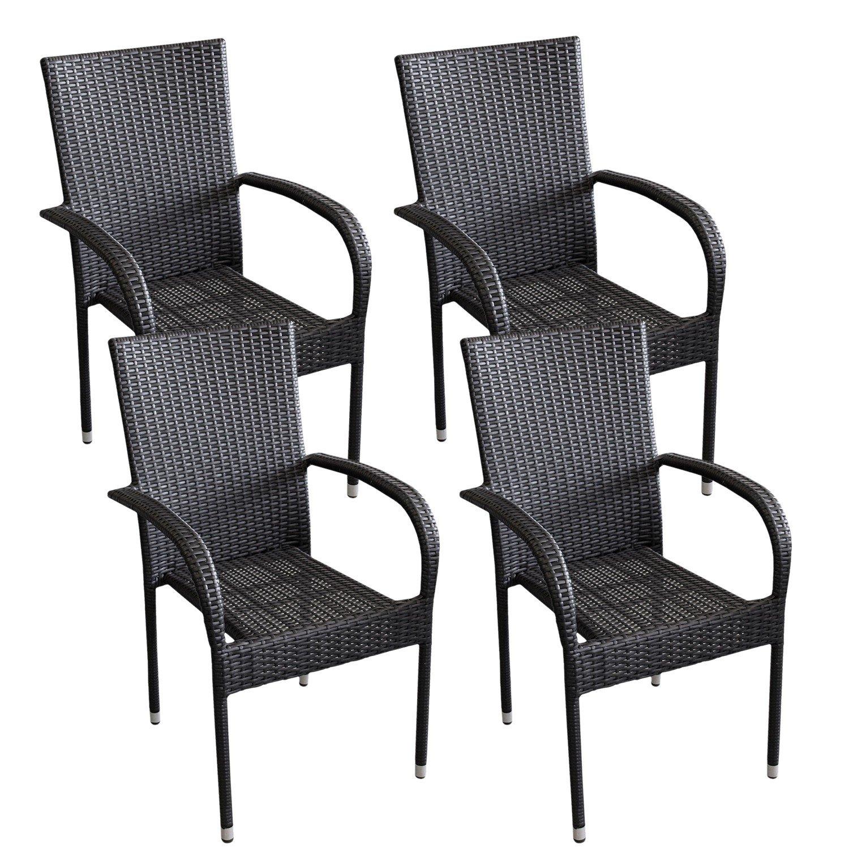 4 Stück Poly Rattan Gartensessel Stapelstuhl Gartenstuhl stapelbar Terrassenmöbel Balkonmöbel Schwarz jetzt kaufen