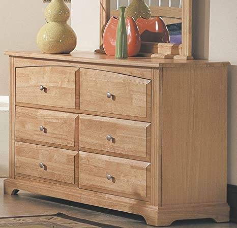 Contemporary Maple Finish Solid Wood Storage Dresser