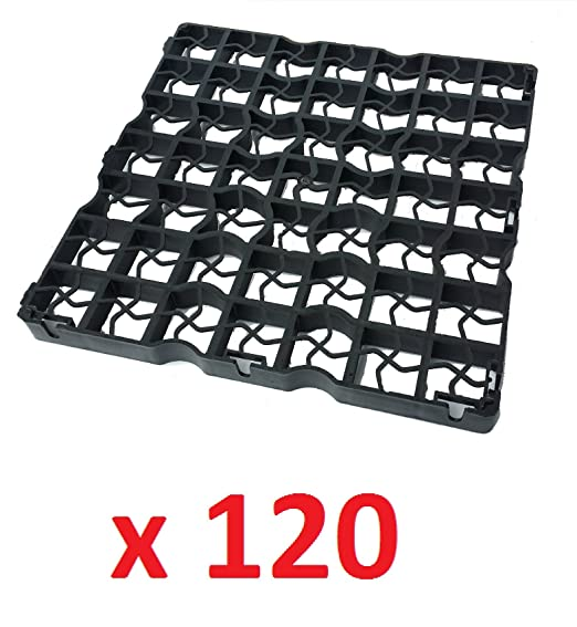120 x schwarz grid rasengitter aus plastik mit schutzfolie. Black Bedroom Furniture Sets. Home Design Ideas