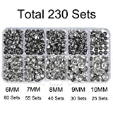 230 Sets Cz White Clear Crystal Rivets Rapid Rhinestone Silver Color Stud Rivets fit for DIY Leather-Craft and Garment (Mixed 03) (Color: Silver Base with White Clear Crystal, Tamaño: Mixed 03)