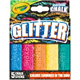 Crayola Outdoor Chalk, Glitter Sidewalk Chalk, Summer Toys, 5 Count (Color: Assorted Glitter., Tamaño: 1-Pack)