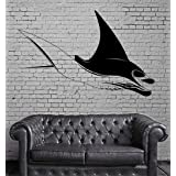 Negativ Wall Decal Manta Ray Ocean Animal Vinyl Removable Mural Art Decoration Stickers for Home Bedroom Nursery Living Room Kitchen (Color: Black)