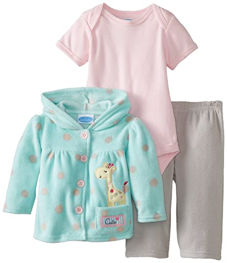 BON BEBE Baby-Girls Newborn Cute Giraffe Micro Fleece Hooded Jacket and Pant Set with Bodysuit, Multi, 6-9 Months