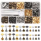 480 Sets Leather Rivets, 3 Sizes 4 Colors Double Cap Rivet Tubular Metal Studs with Setting Tools for DIY Leather Craft, Clothes, Shoes, Bags, Belts Repair Decoration (Tamaño: 3 Size)