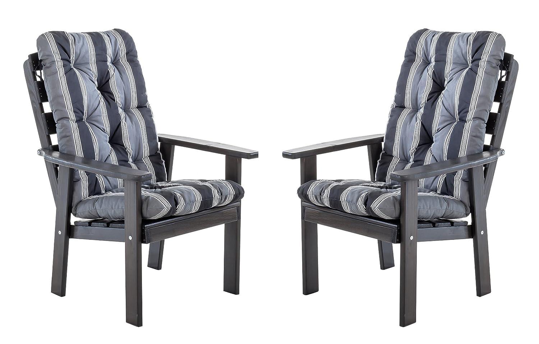 Ambientehome 90326 Gartensessel Gartenstuhl Loungesessel 2-er Set Massivholz Hanko Maxi, taupegrau mit Kissen, schwarz / grau